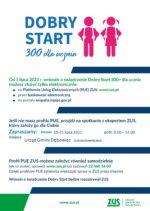 Plakat edytowalny 300 plus Dobry Start spotkanie PUE